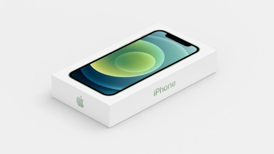 Caixa do iPhone 12, sem carregador nem fone