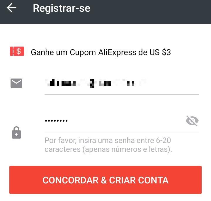 Como criar uma conta no AliExpress pelo aplicativo