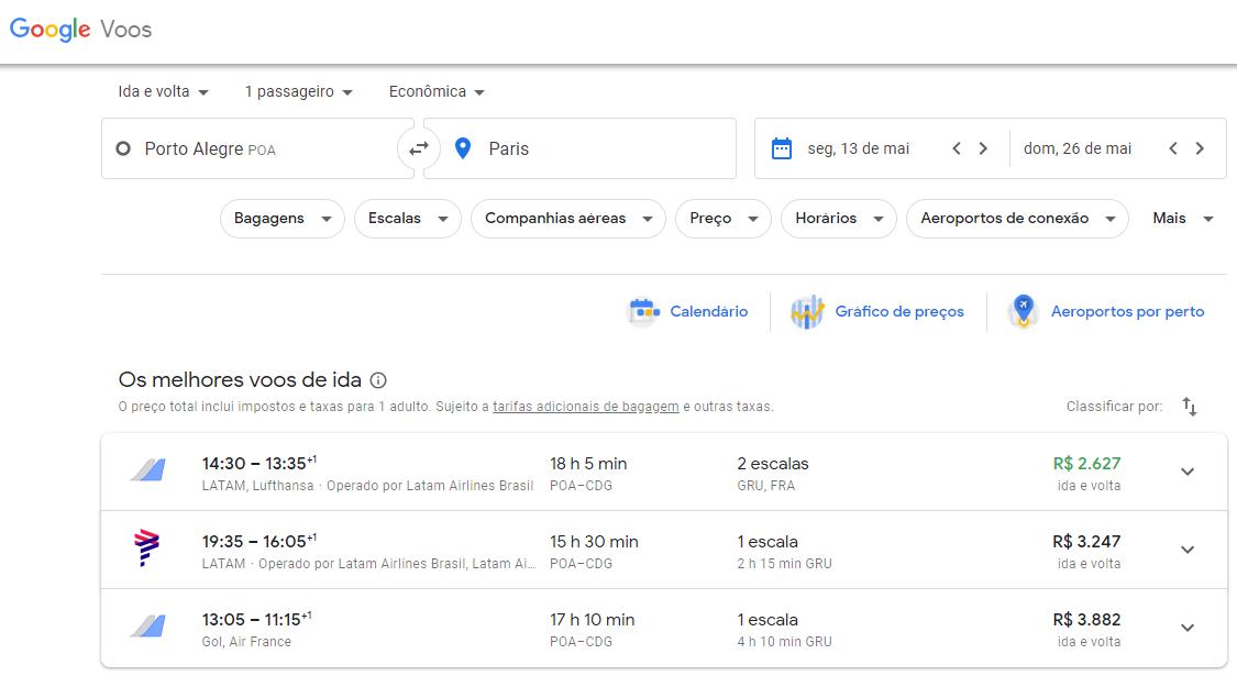 comprar preços de passagens de avião google