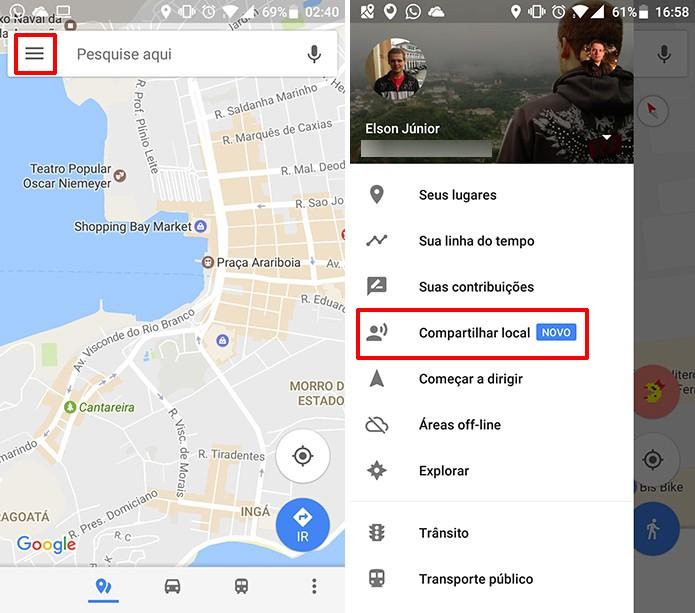 compartilhar google maps
