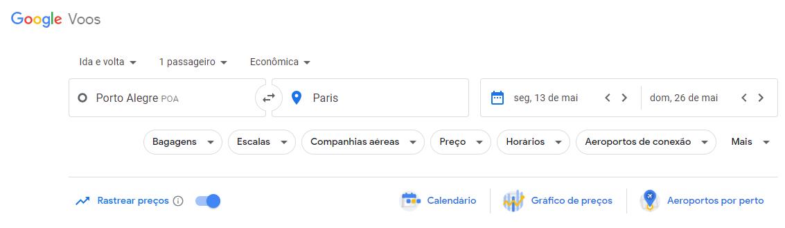 criar alerta de preços google flights