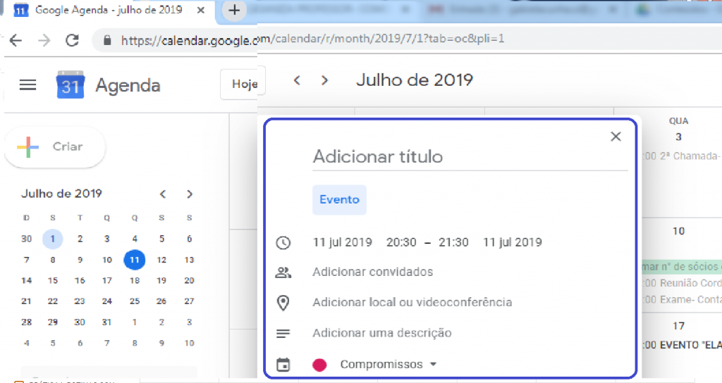 Criar evento Google agenda