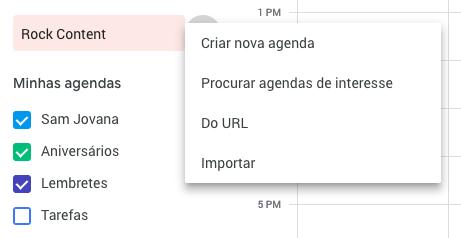 criar nova agenda google