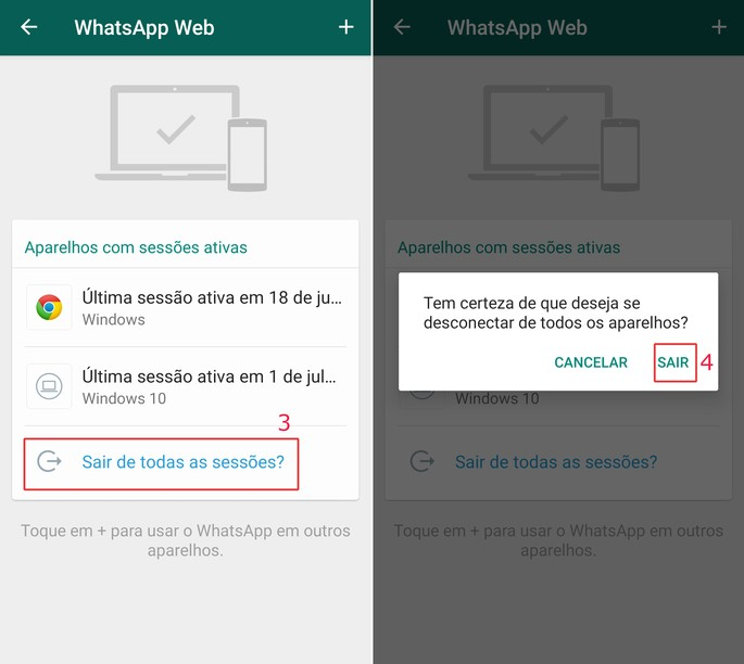 Como desconectar whatsapp web do PC