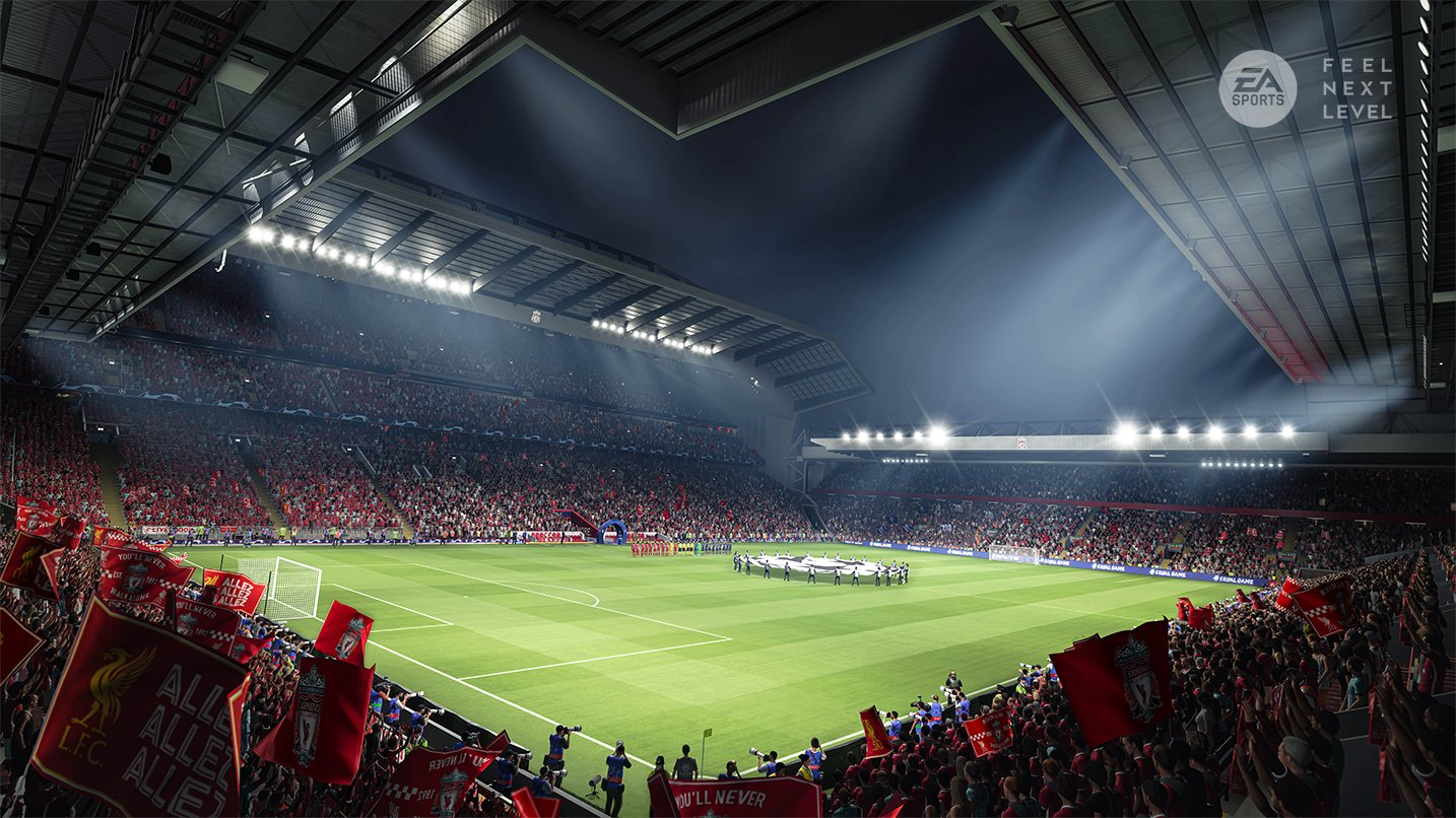 Estádio Anfield, do Liverpool, no FIFA 21