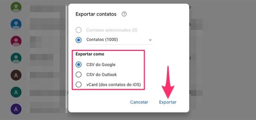 Como exportar contatos