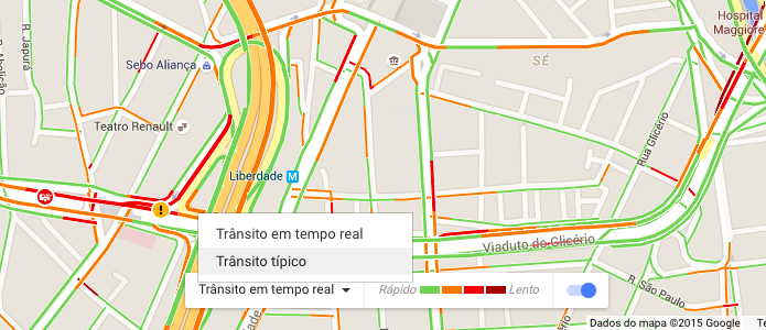 fluxo de trânsito google maps