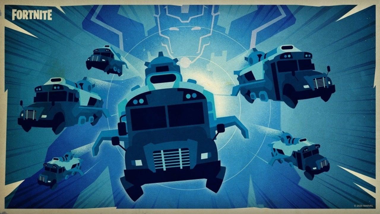 Fortnite - Ônibus de Batalha fugindo de Galactus