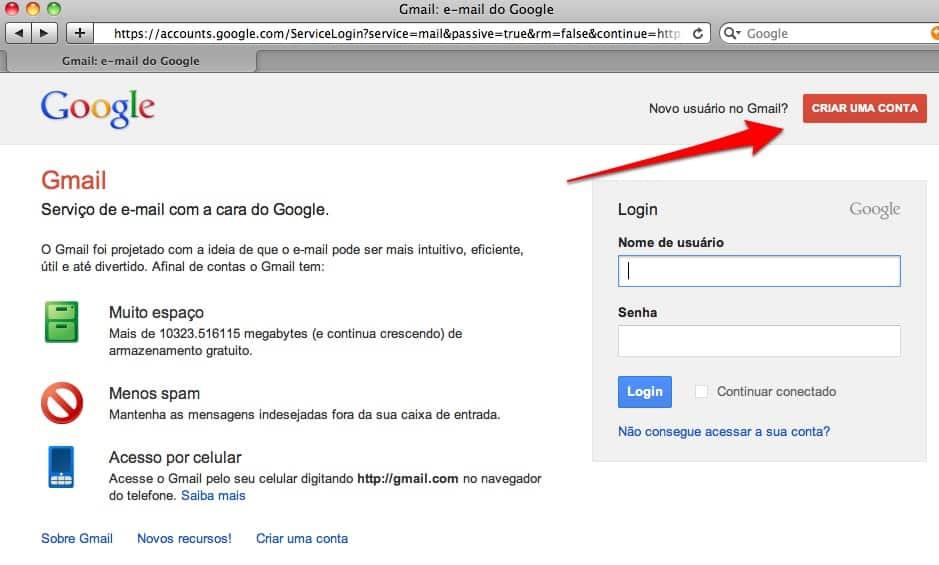 Como fazer conta Gmail aplicativo