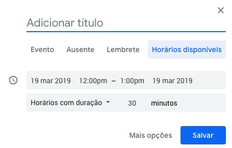 horários disponíveis google calendar