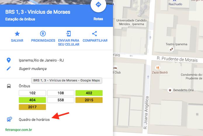 horários de ônibus google maps