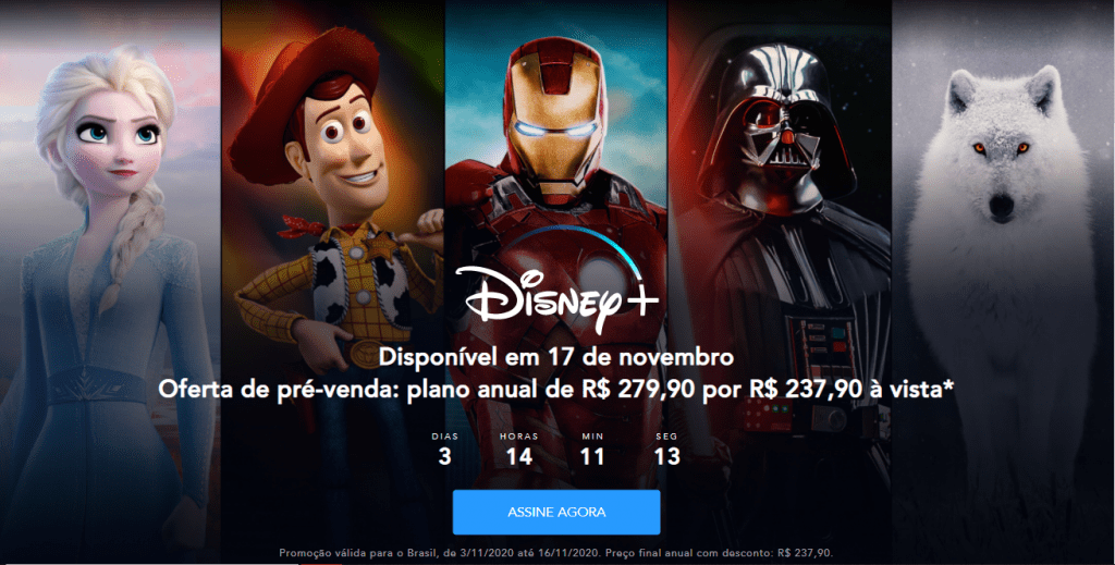 Disney+ chega ao Brasil no dia 17 de novembro