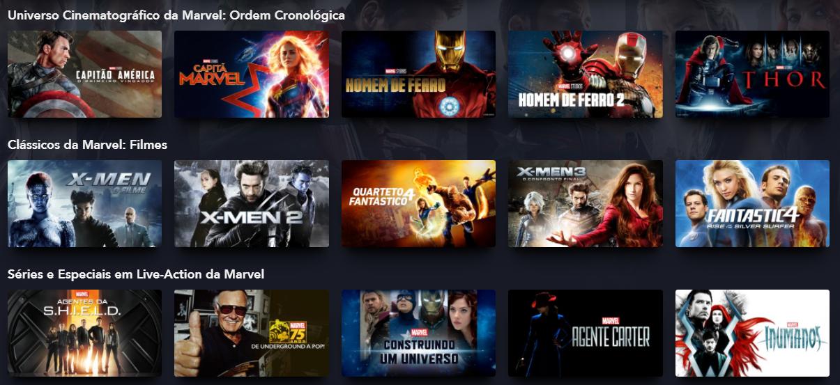 Filmes da Marvel no Disney Plus
