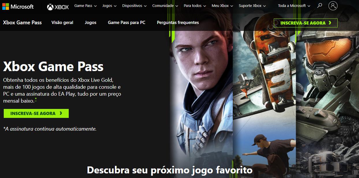 Xbox Game Pass - Página de Assinatura