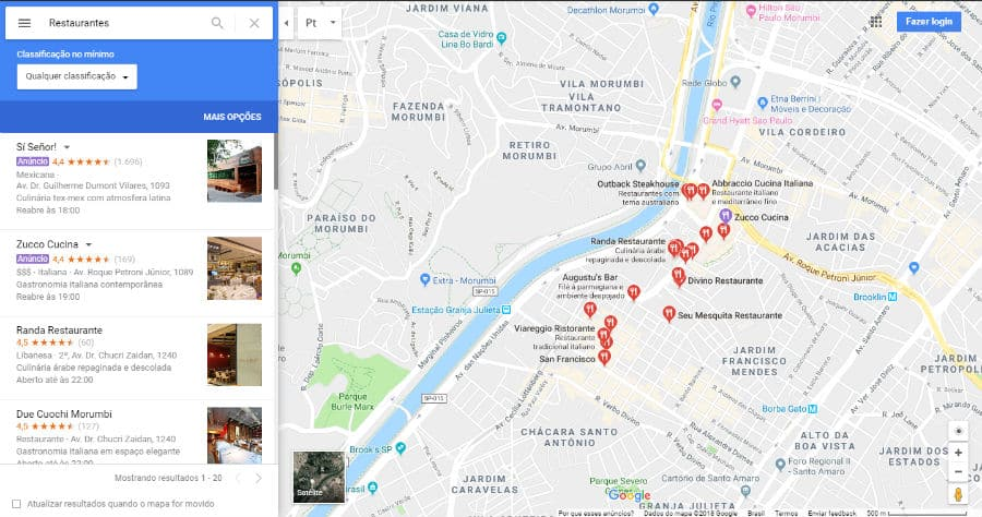 indicações google maps