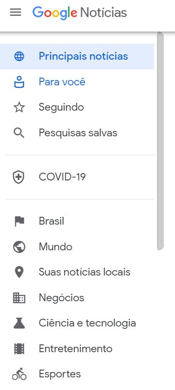 menu do Google Notícias