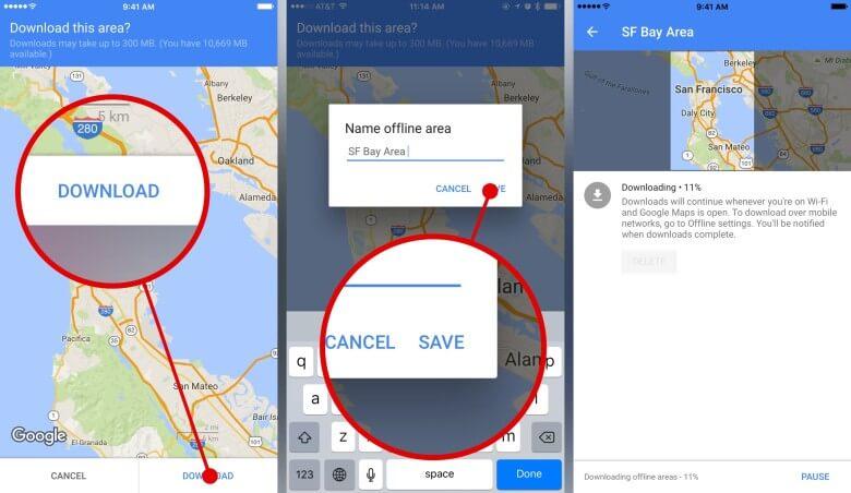 Modo offline google maps