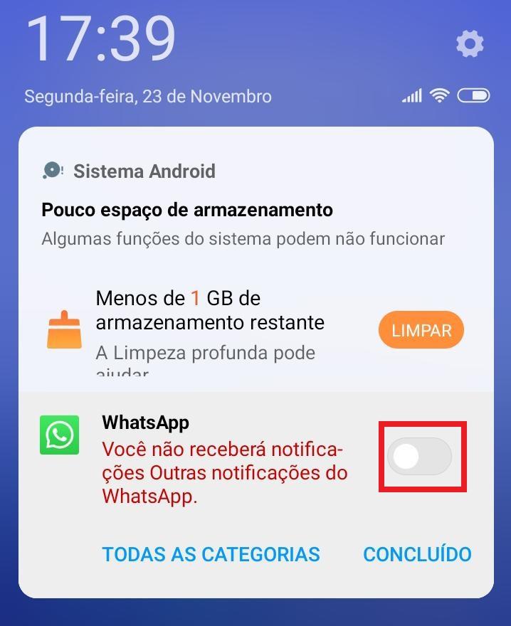 Como desativar a notificação do Android