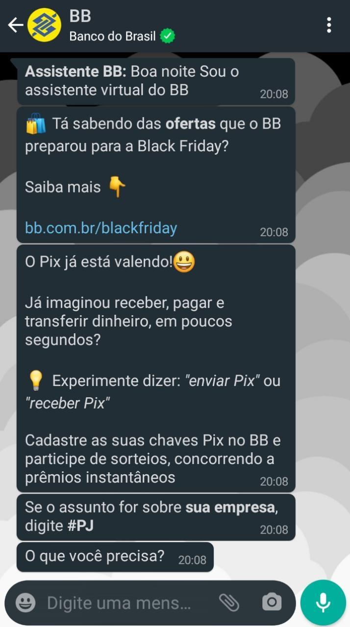 Pix do Banco do Brasil via WhatsApp
