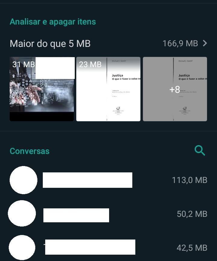 Análise de arquivos e conversas pesadas do gerenciador de armazenamento do WhatsApp