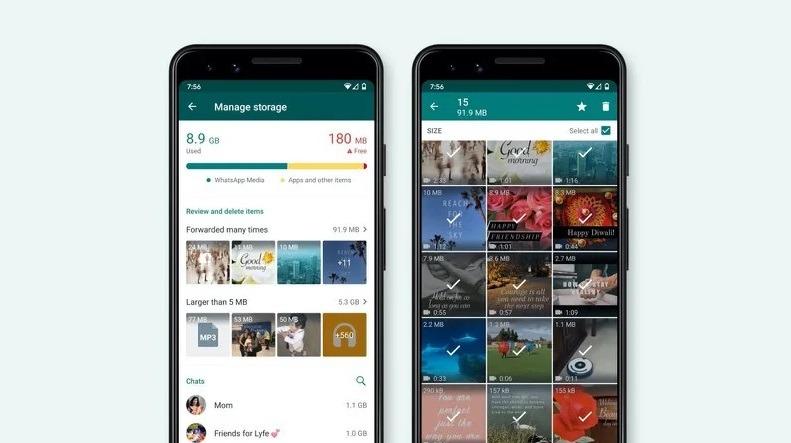 Novo gerenciador de armazenamento do WhatsApp