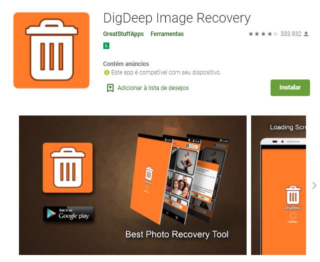 recuperar fotos apagadas no Android: DigDepp