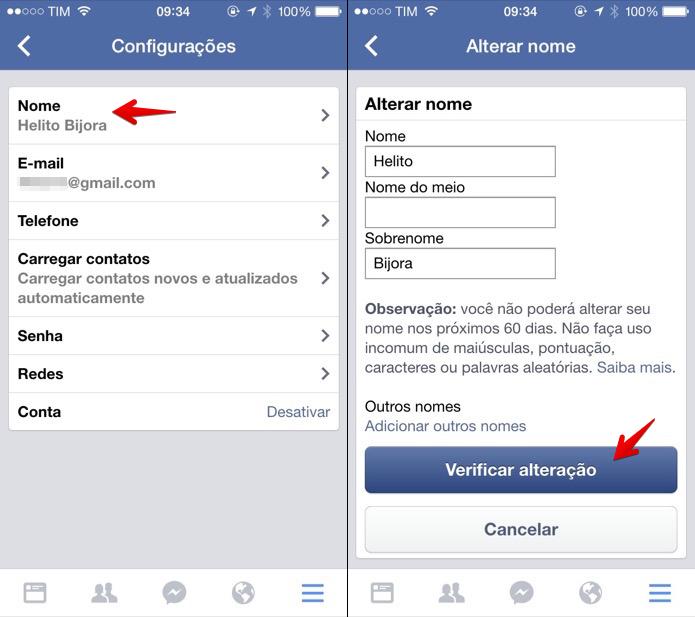 Como mudar nome no facebook
