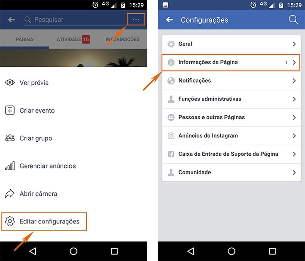 configuração página facebook
