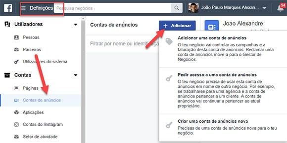 contas de anúncio facebook