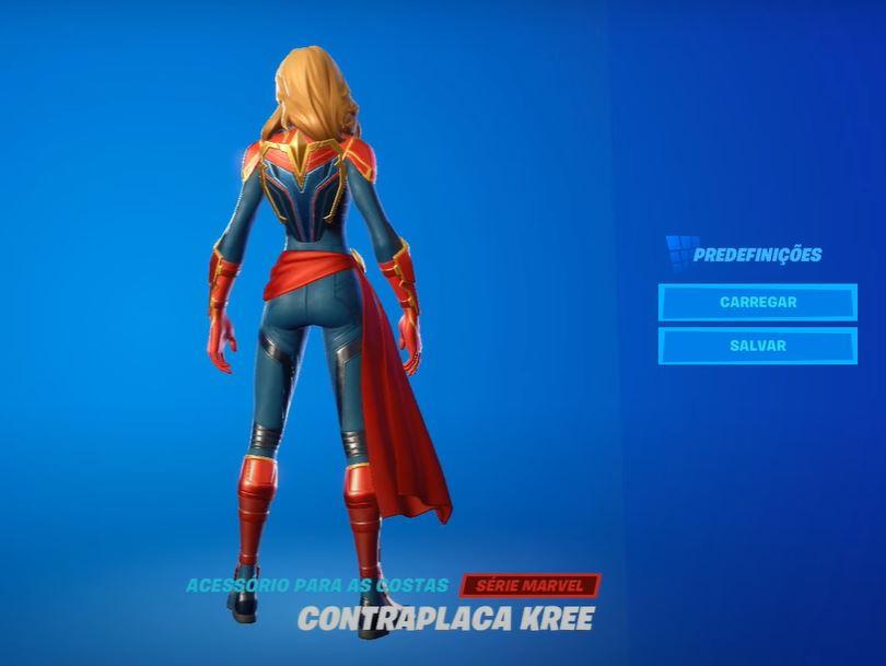 Acessório para as costas da Capitã Marvel no Fortnite