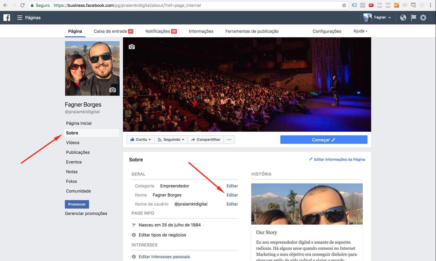 editar nome da página facebook