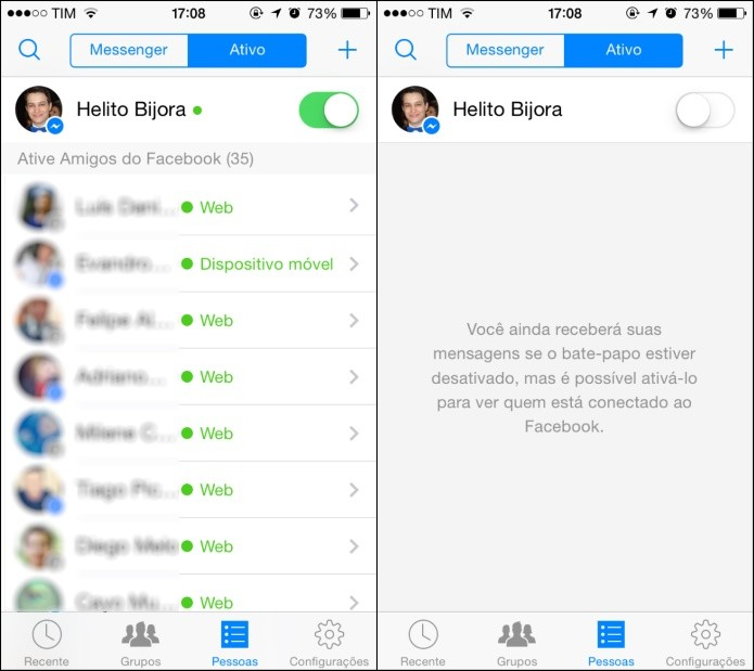 Chat online e offline facebook