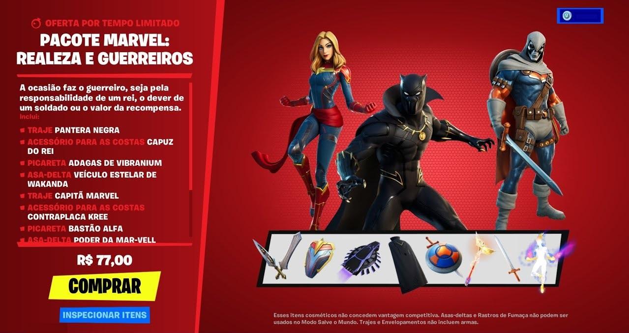 Pacote de skins da Marvel 'Realeza e Guerreiros' do Fortnite