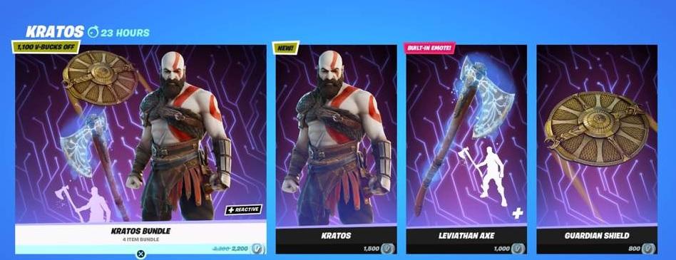 Skin de Kratos na Loja do Fortnite