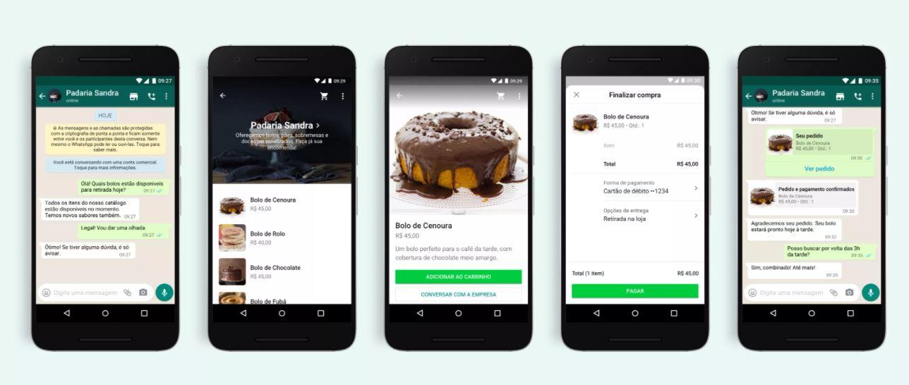 WhatsApp Business - carrinho de compras no app