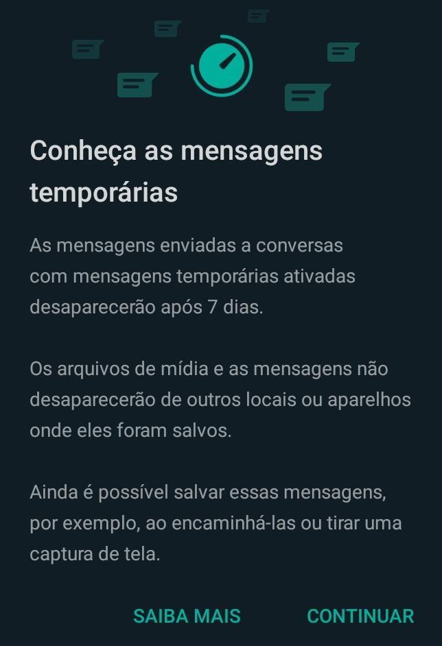 Mensagens temporárias do WhatsApp