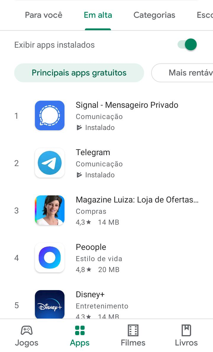Signal passa WhatsApp na Google Play
