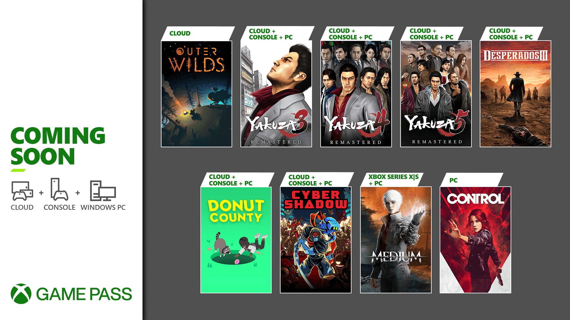 Novos jogos do Xbox Game Pass