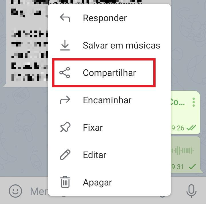 Como enviar áudio do Telegram para o WhatsApp