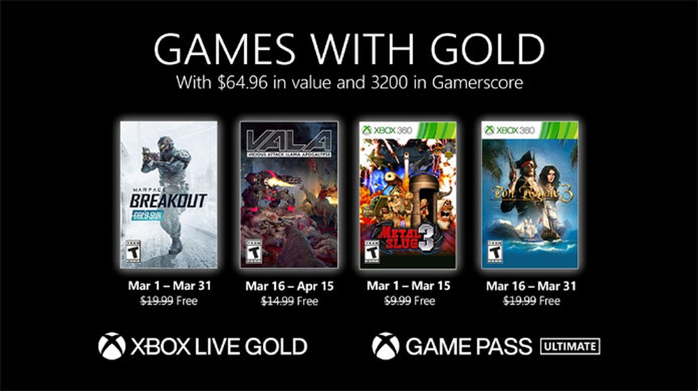 Xbox Games with Gold Março 2021