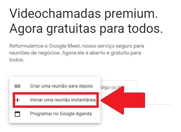 Iniciando uma reunião no Google Meet