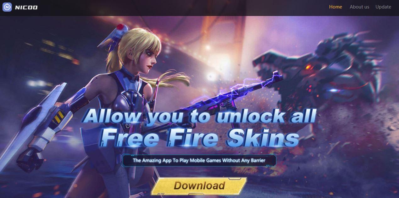 Nicoo, aplicativo de skins gratuitas do Free Fire