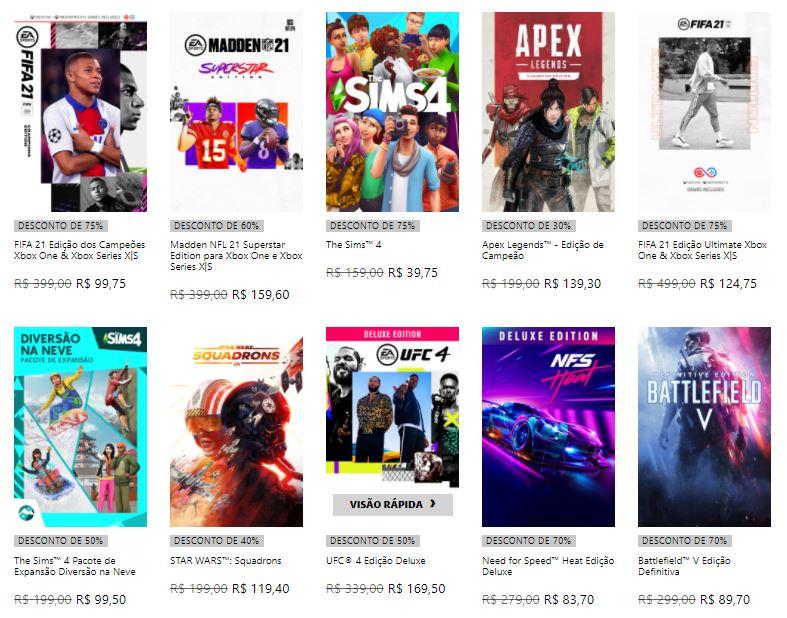 Promoção da EA na loja do Xbox