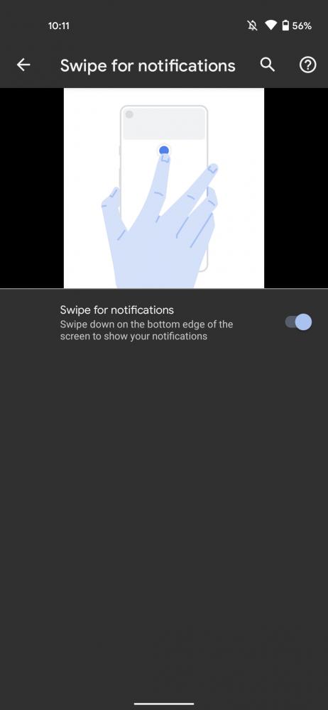 Tela com diagrama de como ver as notificações com o gesto