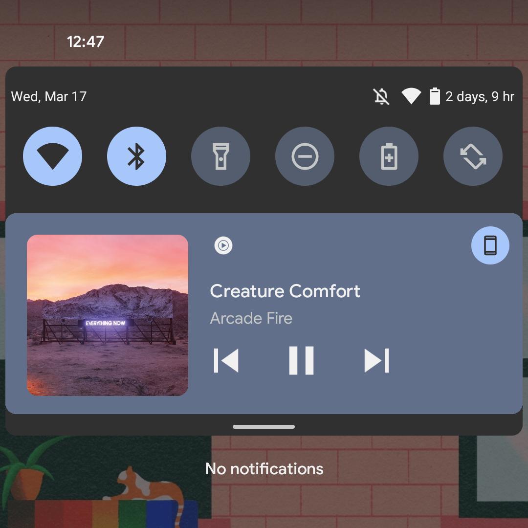 Tela do gadget de música com a mudança de cores
