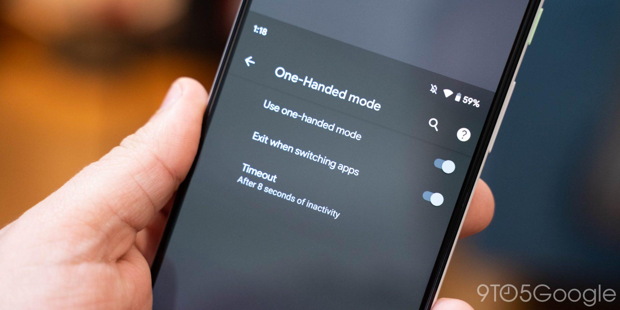 Tela de smartphone mostrando o novo modo de uma mão em um sistema Android 12