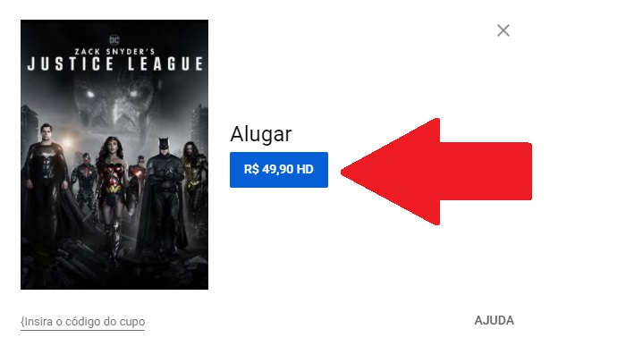 Passo 4 de como alugar o Snyder Cut no YouTube