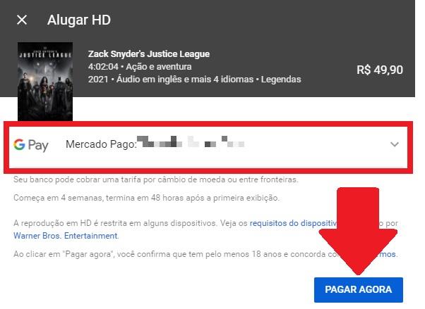 Passo 5 de como alugar o Snyder Cut no YouTube