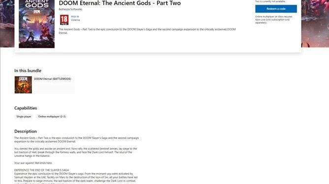 DOOM Eternal - The Ancient Gods Part 2 pode ter sido listado na Microsoft Store