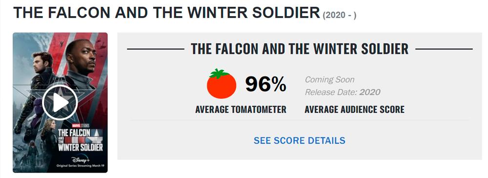 Aprovação de Falcão e o Soldado Invernal no Roten Tomatoes